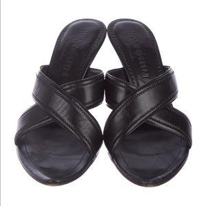 Yves Saint Laurent Leather Slide Sandals